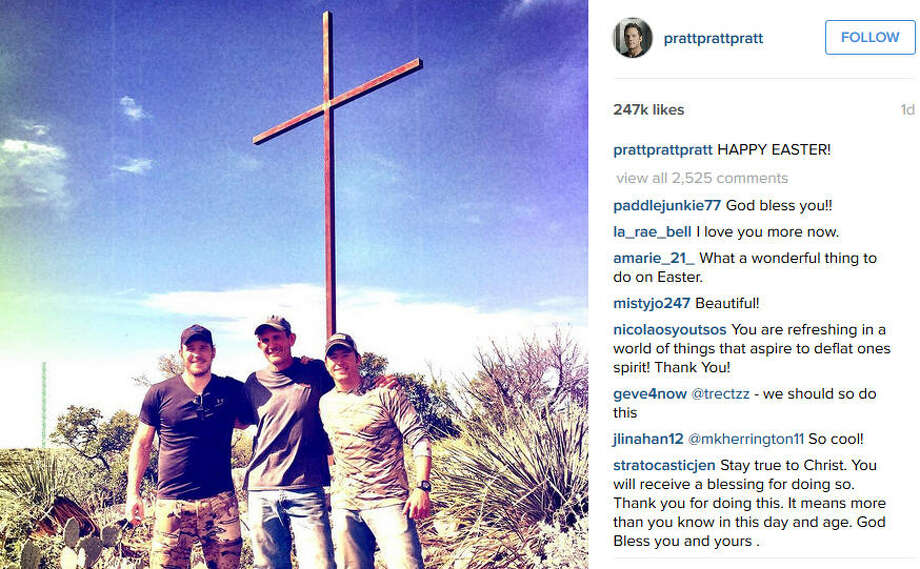 On Easter Sunday, actor Chris Pratt and some friends constructed a large cross in honor of the holiday. They showed off the process step by step on Instagram, in case anyone wanted to make their own cross. Photo: Instagram: @prattprattpratt