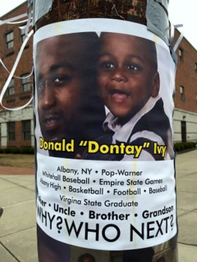"A memorial for Donald ""Dontay"" Ivy on April 9, 2015, near where he died in police custody on Lark and Second streets in Albany. (Paul Grondahl/Times Union) Photo: Picasa"