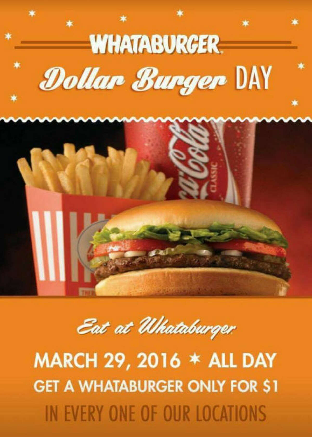Nope, this isn't happening today at any Whataburger location. It's just a clever hoax born on social media.
