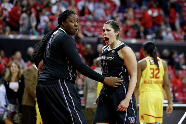 Washington guard Kelsey Plum, right, celebrates with teammate Chantel Osahor after winning an NCAA college basketball game against Maryland in the second round of the NCAA tournament, Monday, March 21, 2016, in College Park, Md. (AP Photo/Patrick Semansky)