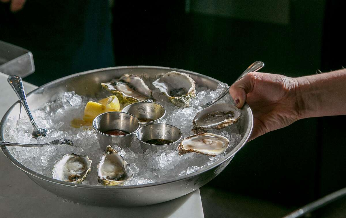 A plate of freshly shucked oysters at Lord George, a new bar near the park.