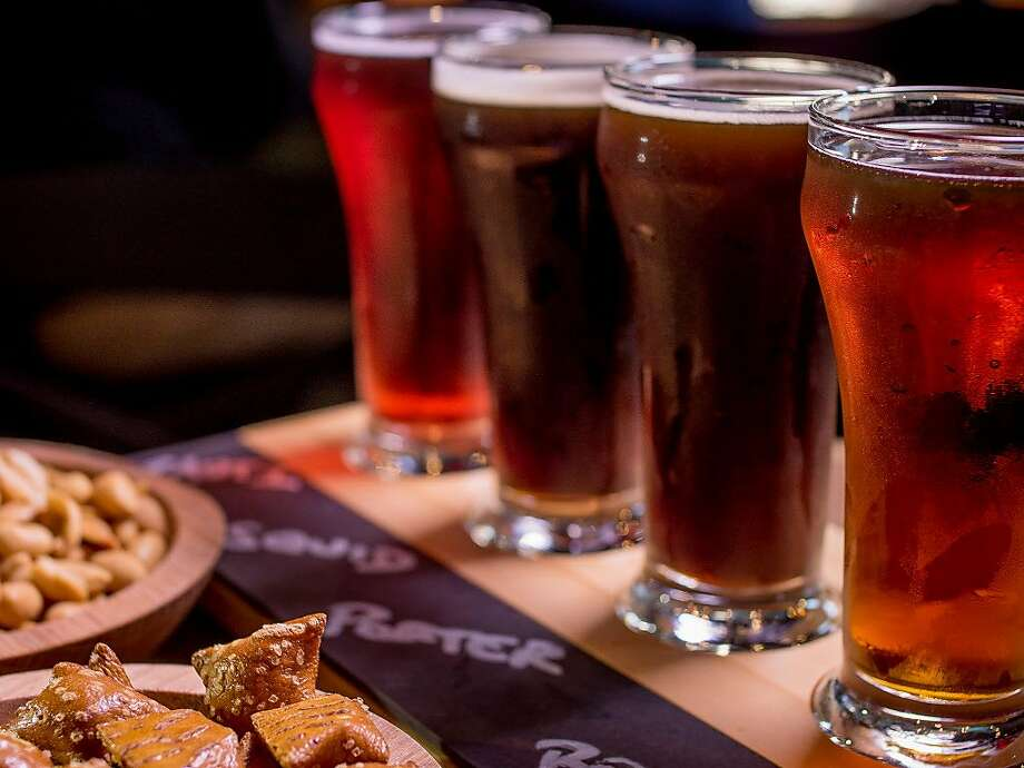 The beer sampler at Black Hammer Brewing in San Francisco, is seen on Sunday, October 18th, 2015. Front to back: Bock Party, Houston We Have a Porter, Squid Ink IPA and Nautilus. Photo: John Storey, Special To The Chronicle