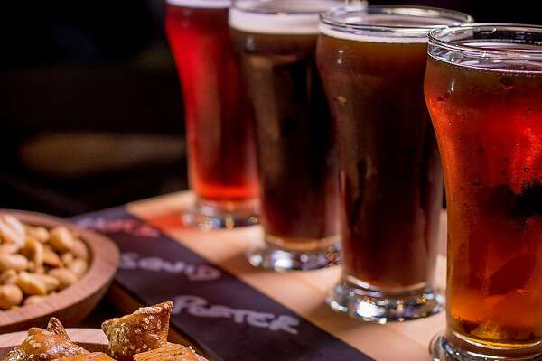 The beer sampler at Black Hammer Brewing in San Francisco, is seen on Sunday, October 18th, 2015. Front to back: Bock Party, Houston We Have a Porter, Squid Ink IPA and Nautilus.
