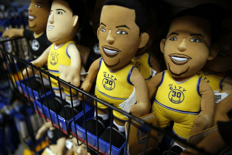 """A Golden State Warriors' dolls adorned with """"The City"""" jersey on sale at Team Store at Oracle Arena in Oakland. Photo: Scott Strazzante Scott  Strazzante, The Chronicle"""