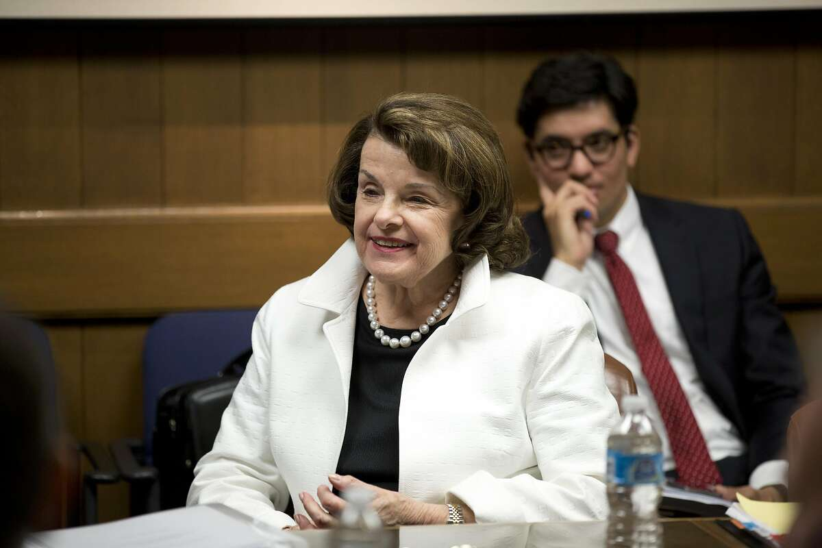 United States Senator Dianne Feinstein talks to the editorial board at the San Francisco Chronicle in San Francisco, Calif. on Tuesday March 29, 2016.