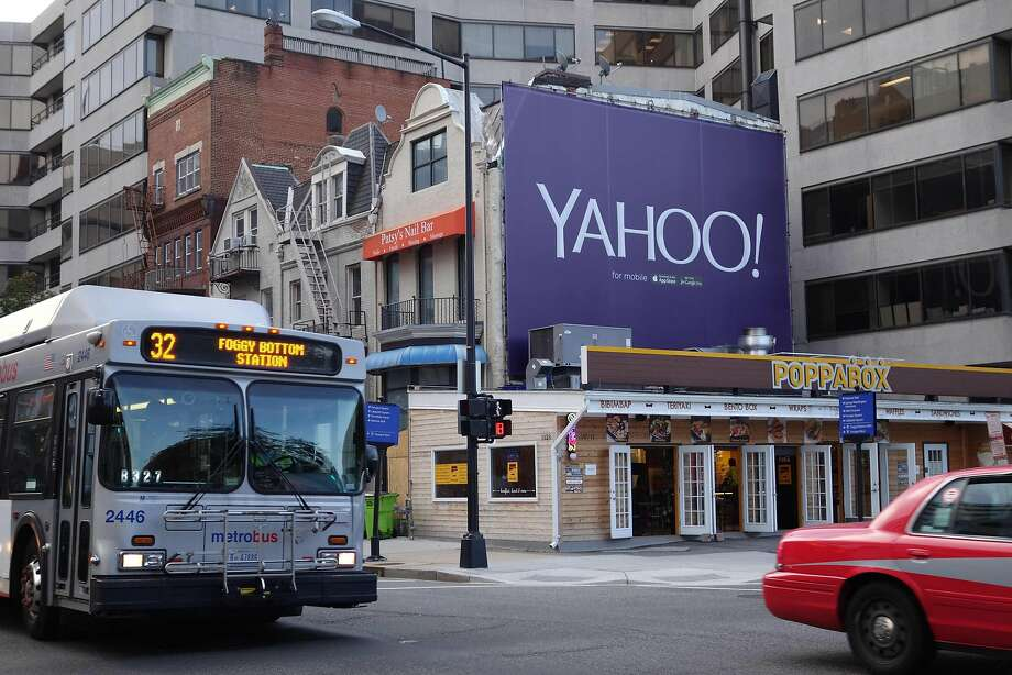 Yahoo has been promoting its mobile services on billboards, including this one in Washington. Now the company may be sold. Photo: KAREN BLEIER, AFP/Getty Images