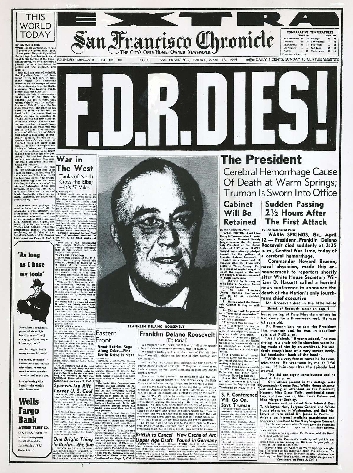 Dailyblast0413.jpg SF Chronicle cover from April 13, 1945. Chronicle File