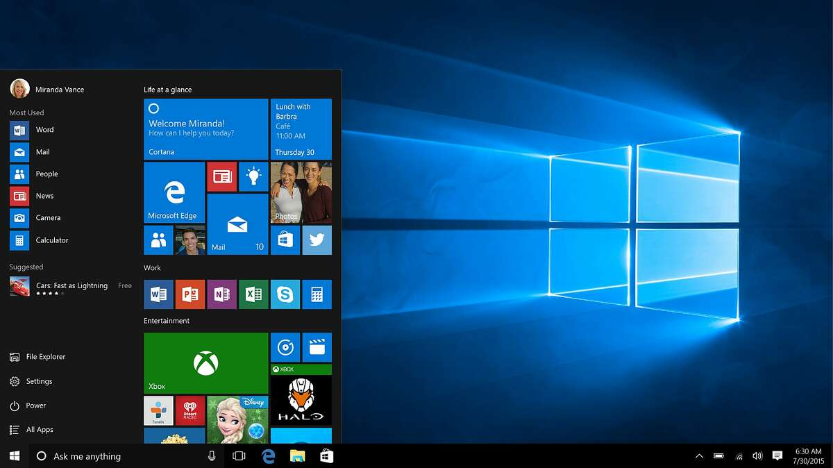 This screen shot provided by Microsoft shows the Start page in Windows 10. Microsoft on Tuesday, Jan. 14, 2020, released a patch that fixes a critical flaw in the operating system.