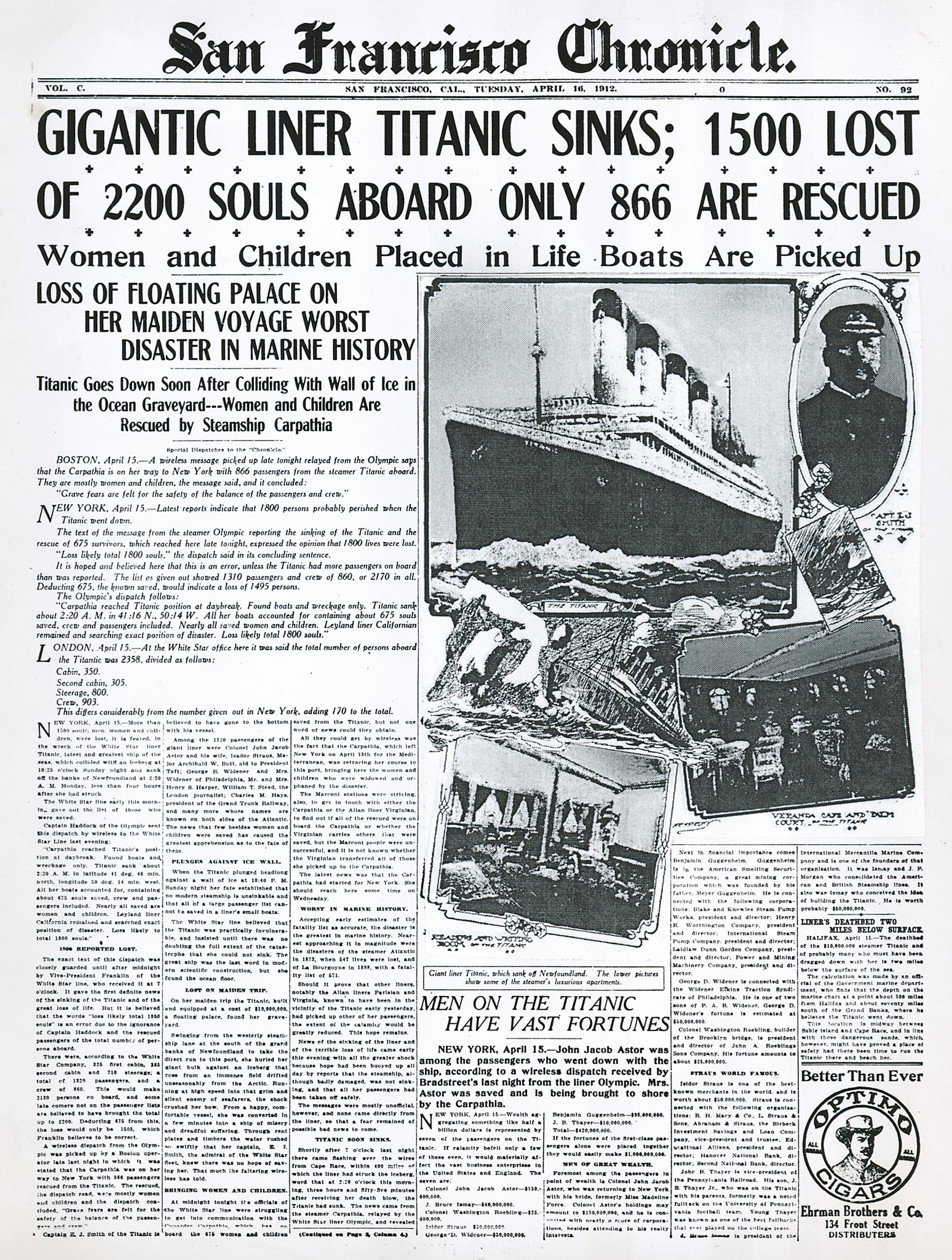 chronicle covers  the titanic u2019s sinking  104 years later