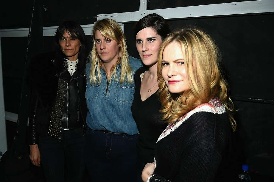 Rodarte fashion designers Kate Mulleavy and Laura Mulleavy will be honored by the Academy of Art this year. They're seen here with actress Jennifer Jason Leigh pose backstage at the Rodarte Fall 2016 fashion show during New York Fashion Week on February 16, 2016 in New York City. Photo: Ben Gabbe, Getty Images