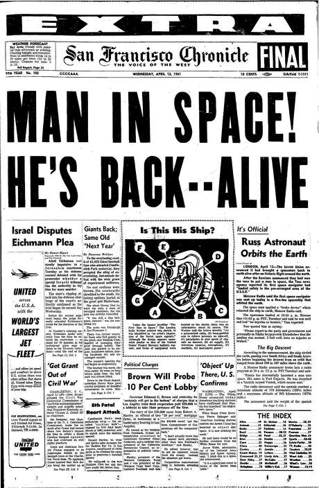 The Chronicle's front page from April 12, 1961, covers a Soviet cosmonaut in space.