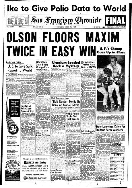 The Chronicle's front page from April 14, 1955, covers boxer Bobo Olson's victory over Joey Maxim.