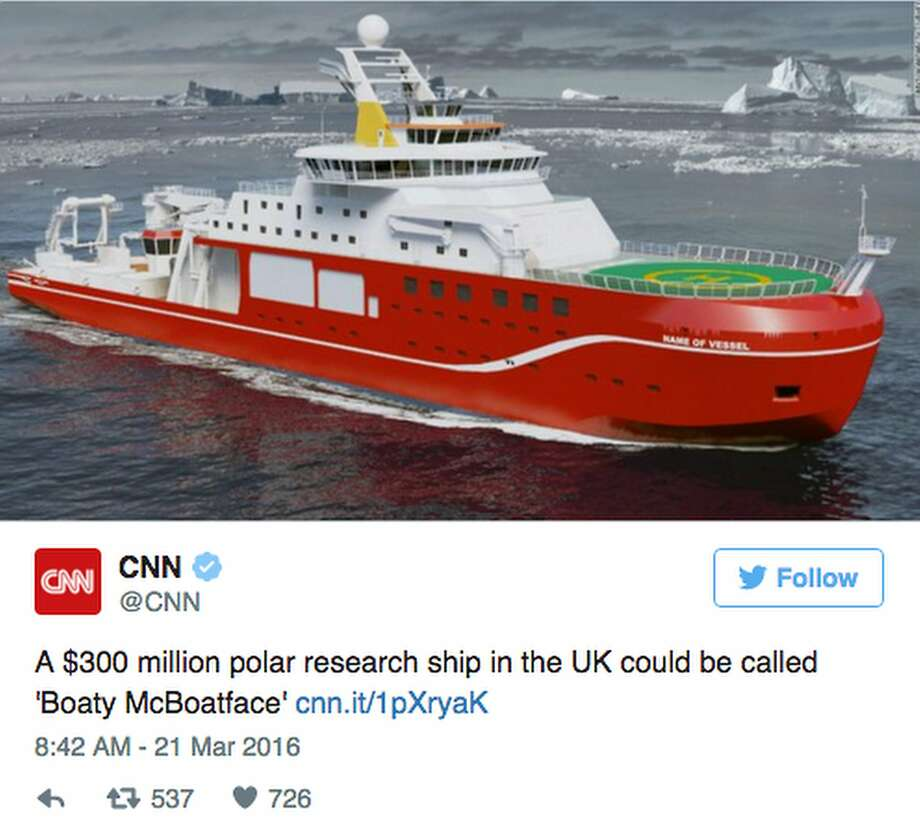 "An artist's rendition of Britain's new research ship, which was dubbed ""Boaty McBoatface"" by online survey-takers."