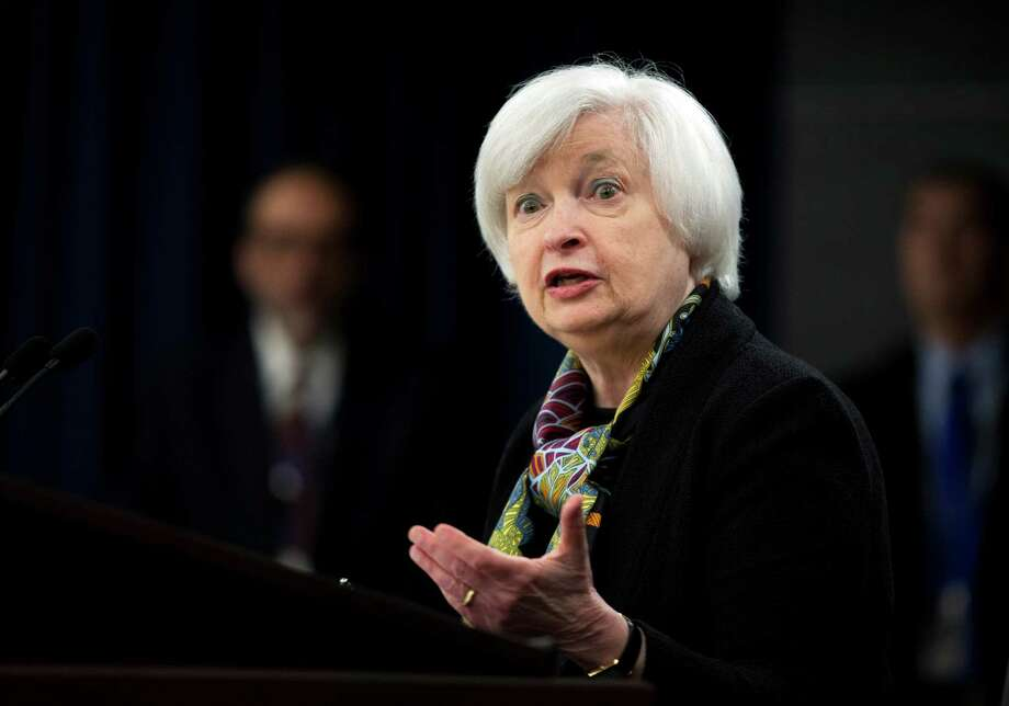 FILE - In this Wednesday, March 16, 2016, file photo, Federal Reserve Chair Janet Yellen speaks during a news conference after the Federal Open Market Committee meeting in Washington. On Tuesday, March 29, 2016, Yellen is scheduled to give a speech and discuss the Fed's economic outlook and monetary policy at the Economic Club of New York with Alan Blinder, a former Fed vice chair, and Glenn Hubbard, dean of Columbia Business School. (AP Photo/Manuel Balce Ceneta, File) ORG XMIT: NYBZ229 Photo: Manuel Balce Ceneta / AP