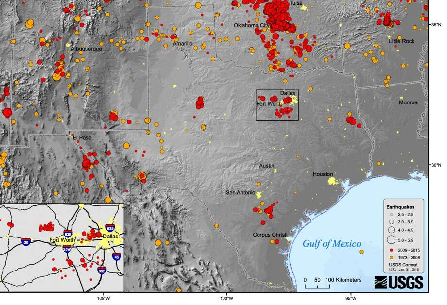 Texas has seen an increase in earthquake activity that experts attribute to fracking. But Texas has been affected by earthquakes for decades. Since the 1920s there have been nearly a dozen quakes that measured 4.5 or more on the Richter scale. Photo: USGC