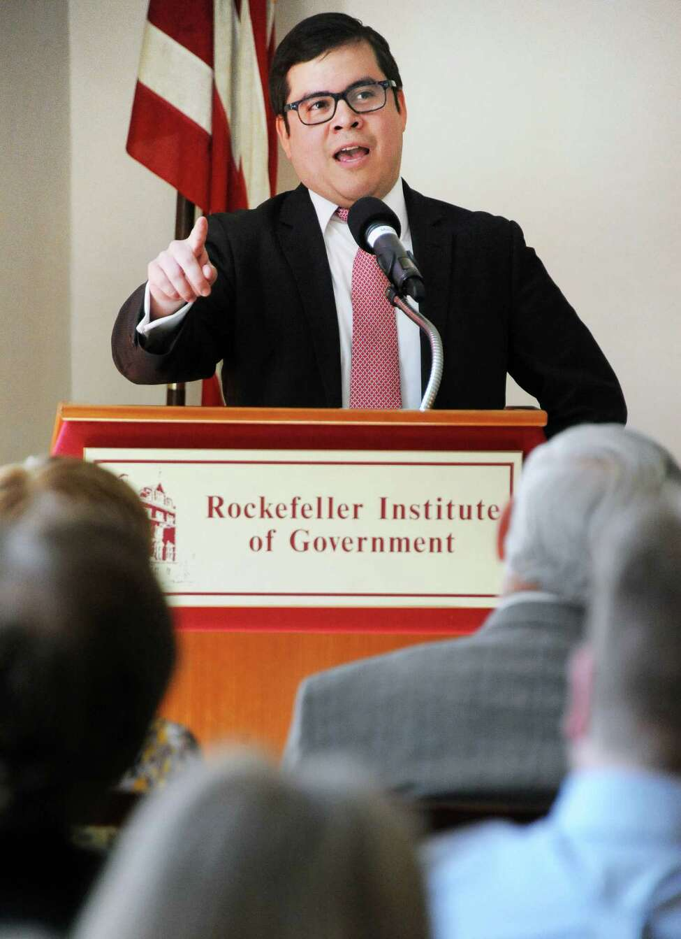 Jorge Montalvo of the NYS Office for New Citizens speaks during a panel discussion on the importance of Immigration to the New York State economy on Tuesday, March 29, 2016, at the Rockefeller Institute in Albany, N.Y. (John Carl D'Annibale / Times Union)