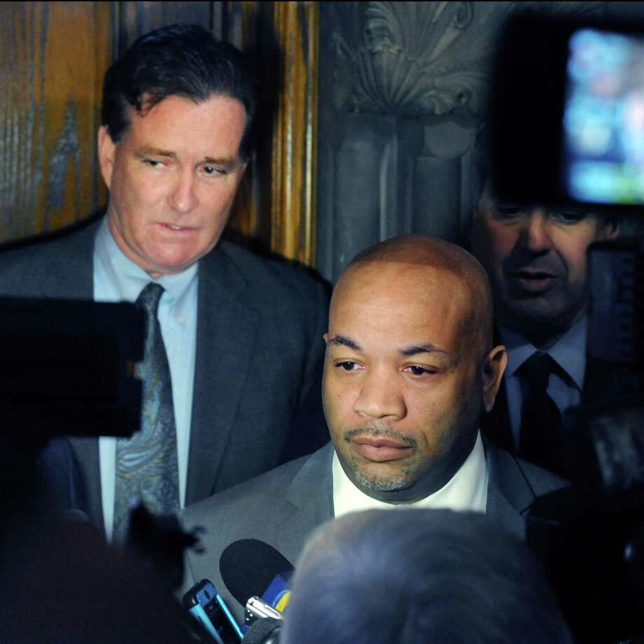 Senate Majority Leader John Flanagan, left, and Assembly Speaker Carl Heastie speak to reporters following a leaders' meeting with Gov. Cuomo Tuesday, March 29, 2016, at the Capitol in Albany, N.Y.  (John Carl D'Annibale / Times Union) Photo: John Carl D'Annibale