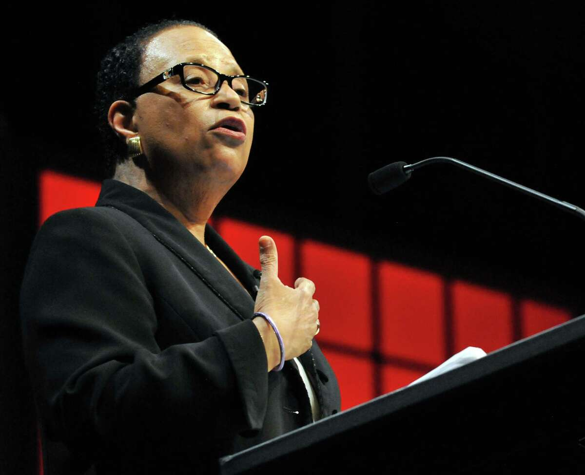 Rensselear Polytechnic Institute President Shirley Ann Jackson speaks during RPI's President's Commencement Colloquy Friday, May 21, 2015, in Troy N.Y. (Phoebe Sheehan/Special to the Times Union archive)