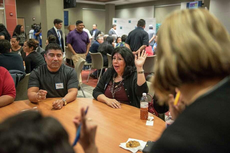 Members of the South San High School ISD community hold a group discussion during a meeting for parents, community leaders, teachers and others last month. A reader urges communities to appreciate — and support — teachers. Photo: Matthew Busch /For The Express-News / © Matthew Busch
