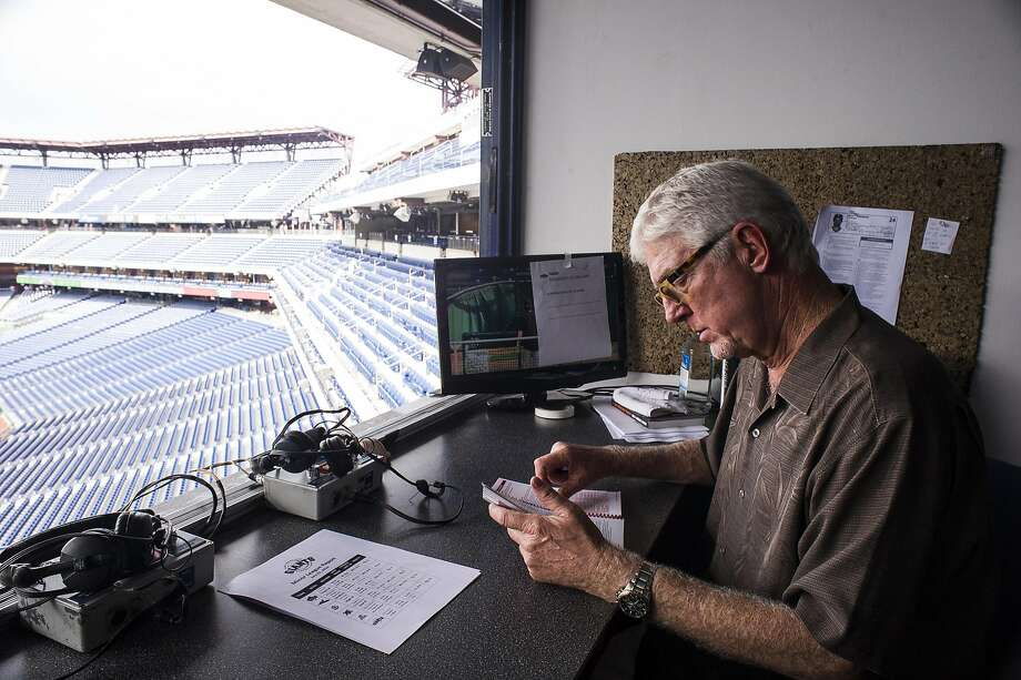 Mike Krukow, long-time television color commentator for the San Francisco Giants, at Citizen's Bank Park in Philadelphia, PA, on July 21, 2014. Photo: Charles Mostoller, Special To The Chronicle