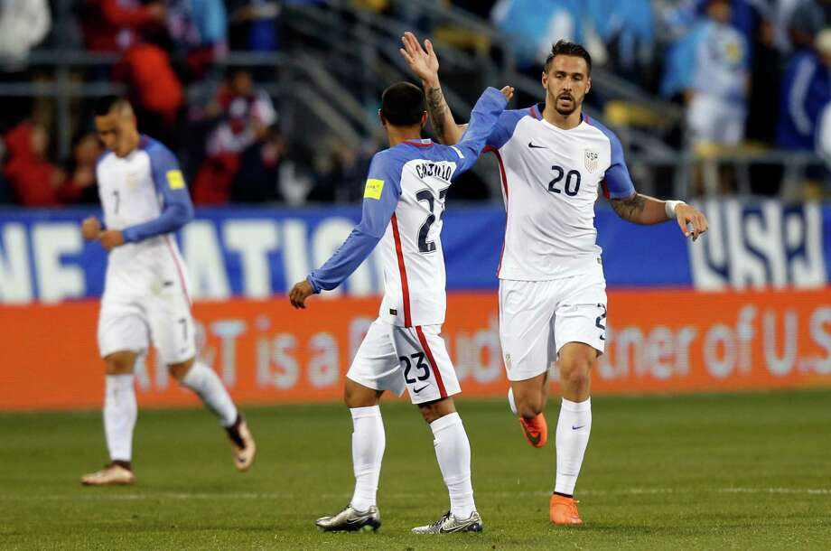 United States' Geoff Cameron, right, celebrates goal against Guatemala with teammate Edgar Castillo during the first half of a World Cup qualifying soccer match Tuesday, March 29, 2016, in Columbus, Ohio. (AP Photo/Jay LaPrete) ORG XMIT: OHJL109 Photo: Jay LaPrete / FR52593 AP