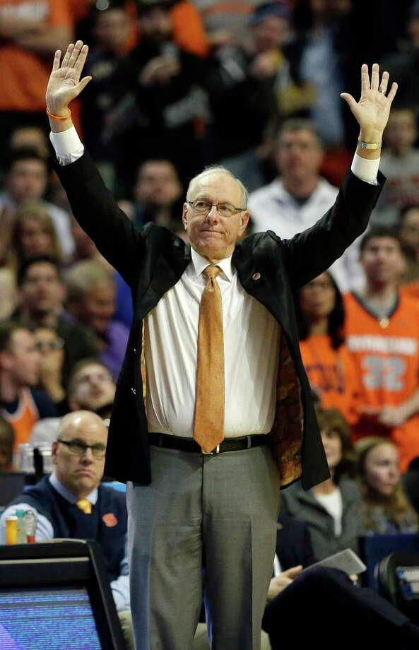 Syracuse's head coach Jim Boeheim signals during the second half of a college basketball game against Virginia in the regional finals of the NCAA Tournament, Sunday, March 27, 2016, in Chicago. (AP Photo/Nam Y. Huh) ORG XMIT: ILKS150 Photo: Nam Y. Huh / AP