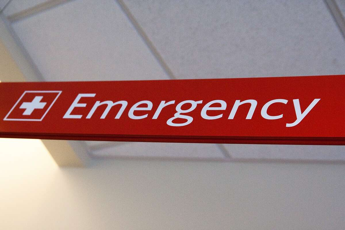File photo of emergency room sign. Red Emergency Sign at Hospital