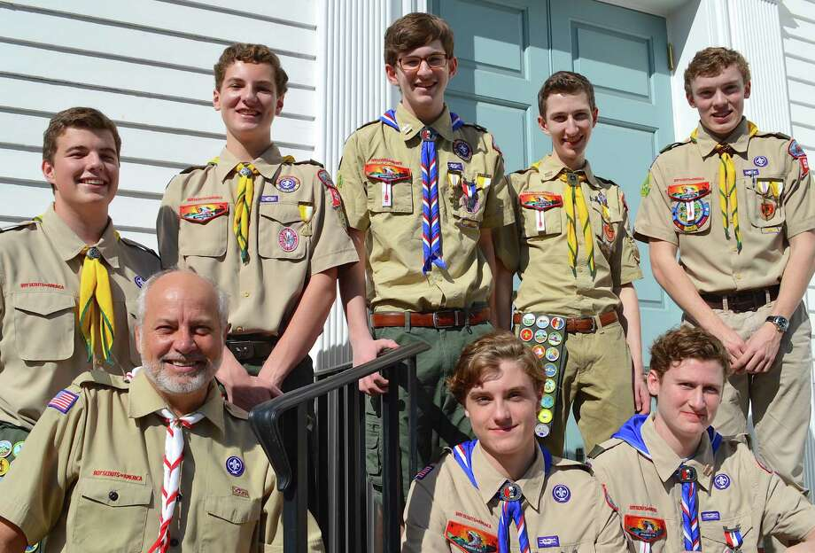 Seven Eagle Scouts of Troop 90, who have been together in Scouting since they were young Cub Scouts, are, with Scoutmaster Tom Black, from top left, Brennan Black, Damian Chessare, Aidan McLaughlin, Ryan Cimmino and James Thornton; in front, Matt McCurley and Dan Fitzgerald. Photo: Fairfield Citizen / Jarret Liotta / Fairfield Citizen