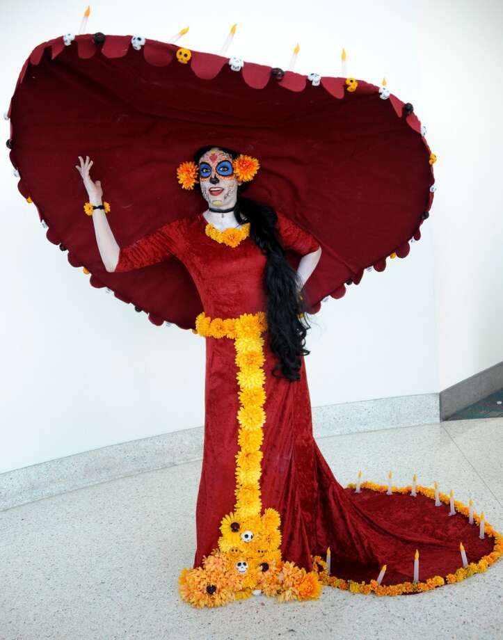 "Need some cosplay ideas for the upcoming Space City Comic Con? Check out these costumes for inspiration.When choosing a costume, accuracy is key, like this woman's Skeleton Carmen from ""The Book of Life."" Even the hugely disproportional hat is right. Photo: Getty Images"