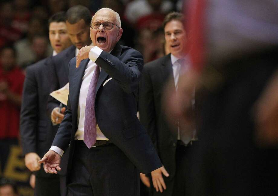 SMU head coach Larry Brown reacts to a call in the second half of game action against the University of Houston at Hofheinz Pavilion on Feb. 1, 2016 in Houston. Photo: Elizabeth Conley /Houston Chronicle / © 2016 Houston Chronicle