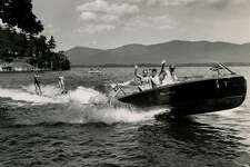 New York State promotional photo of people waterskiing on Lake George, 1950s. Lake George N.Y. (Times Union archive)
