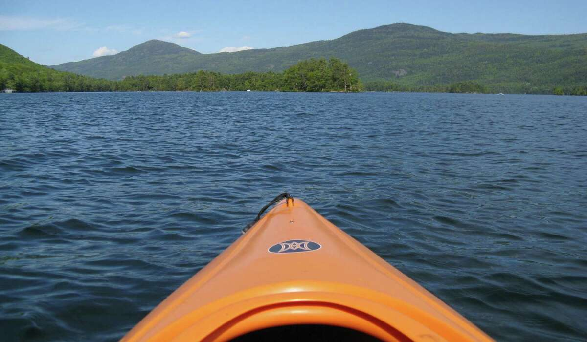 Black Mountain and Erebus Mountain as seen from a canoe on Lake George. (Herb Terns/Times Union)