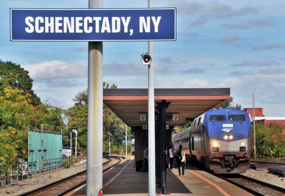 An Amtrak train pulls into the Schenectady rail station Wednesday afternoon September 29, 2010.  (John Carl D'Annibale / Times Union) Photo: John Carl D'Annibale