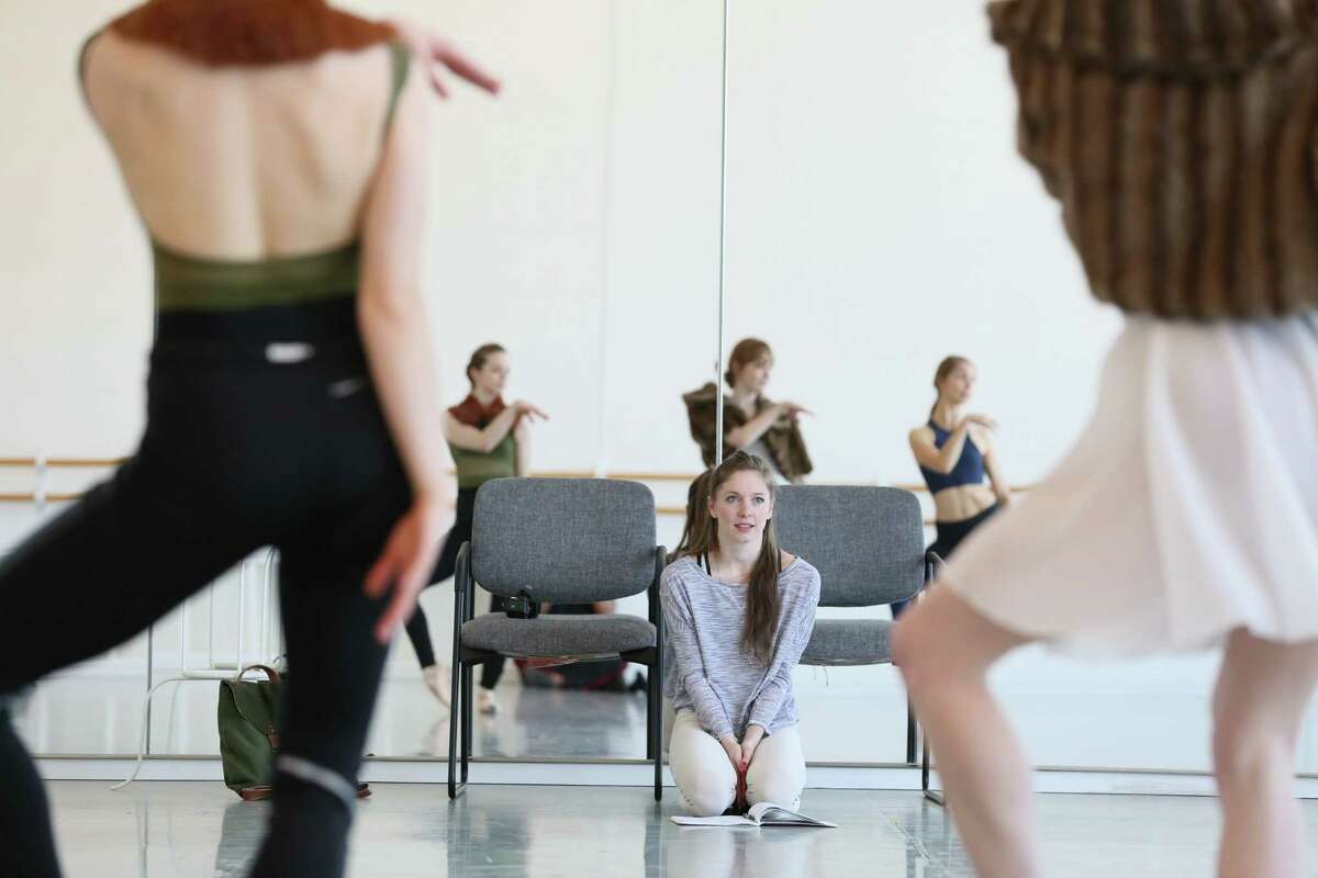 Melody Herrera, center, works with Houston Ballet dancers who will perform her new piece for Project REACH.