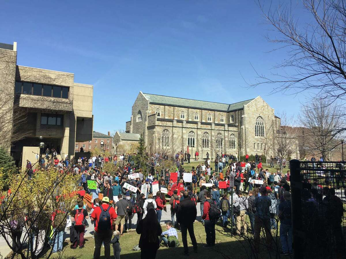 Students hold a protest on Wednesday, March 30, 2016, on the RPI campus in Troy, N.Y.