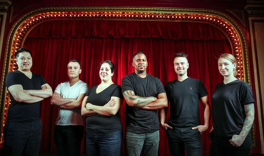 From left: Geoffrey Lee of Ju-Ni, Val Cantu of Californios, Laura Meyer of Tony's, Pierre Tumlin of Hog & Rocks, Ryan Pollnow of Aatxe, and Sara Hauman of Mister Jiu's. Photographed at Club Fugazi, home of Beach Blanket Babylon. Photo: Russell Yip, The Chronicle