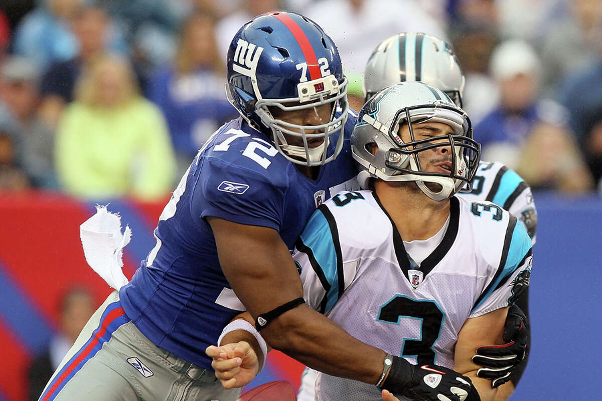 Second round:Pick No. 56: DE Osi Umenyiora (New York Giants, 2003) An under-the-radar prospect out of Troy, Umenyiora became a household name in his first season as a full-time starter in 2005, when he racked up 14½ sacks and was named a first-team All-Pro. Umenyiora and the rest of the Giants' fearsome D-line helped New York defeat Tom Brady and the New England Patriots in Super Bowls XLII and XLVI. He finished his career with 85 sacks.