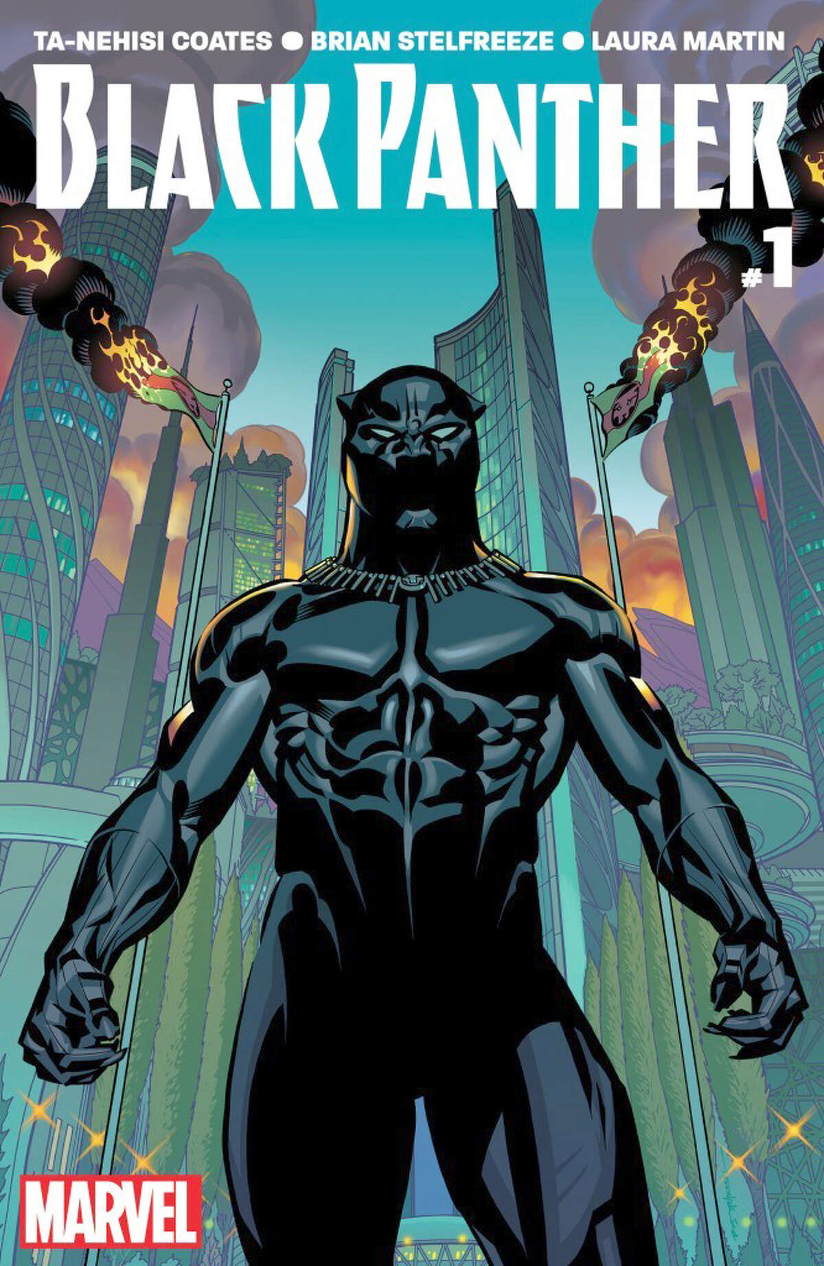 Black Panther #1 The cover. Written by Ta-Nehisi Coates with art by Brian Stelfreeze.