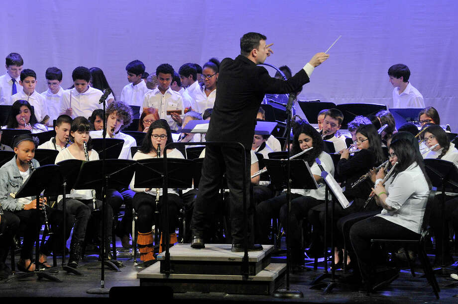The combined eighth grade band performs during the first Citywide Band Concert at Westhill High School in Stamford, Conn., on Thursday, March 26, 2015. The district will hold its second such concert on Thursday, March 31. 2016. Photo: Jason Rearick / Jason Rearick / Stamford Advocate