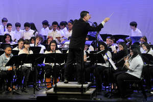 The combined eighth grade band performs during the first Citywide Band Concert at Westhill High School in Stamford, Conn., on Thursday, March 26, 2015. The district will hold its second such concert on Thursday, March 31. 2016.