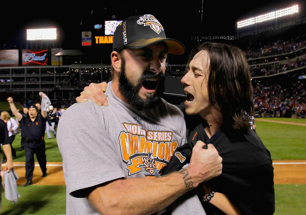 Brian Wilson and Tim Lincecum celebrate as the San Francisco Giants take game 5 to win the 2010 World Series over the Texas Rangers on Monday Nov. 1, 2010 in Arlington, Tx., with a score of 3-1.