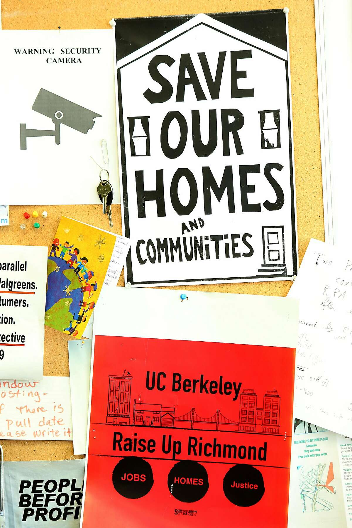 Flyers on the bulletin board around the office of Andres Soto in downtown Richmond, Calif., on Monday, July 27, 2015. Soto founded Richmond Progressive Alliance 10 years ago leading the campaign for rent control intending to shield longtime residents from displacement.