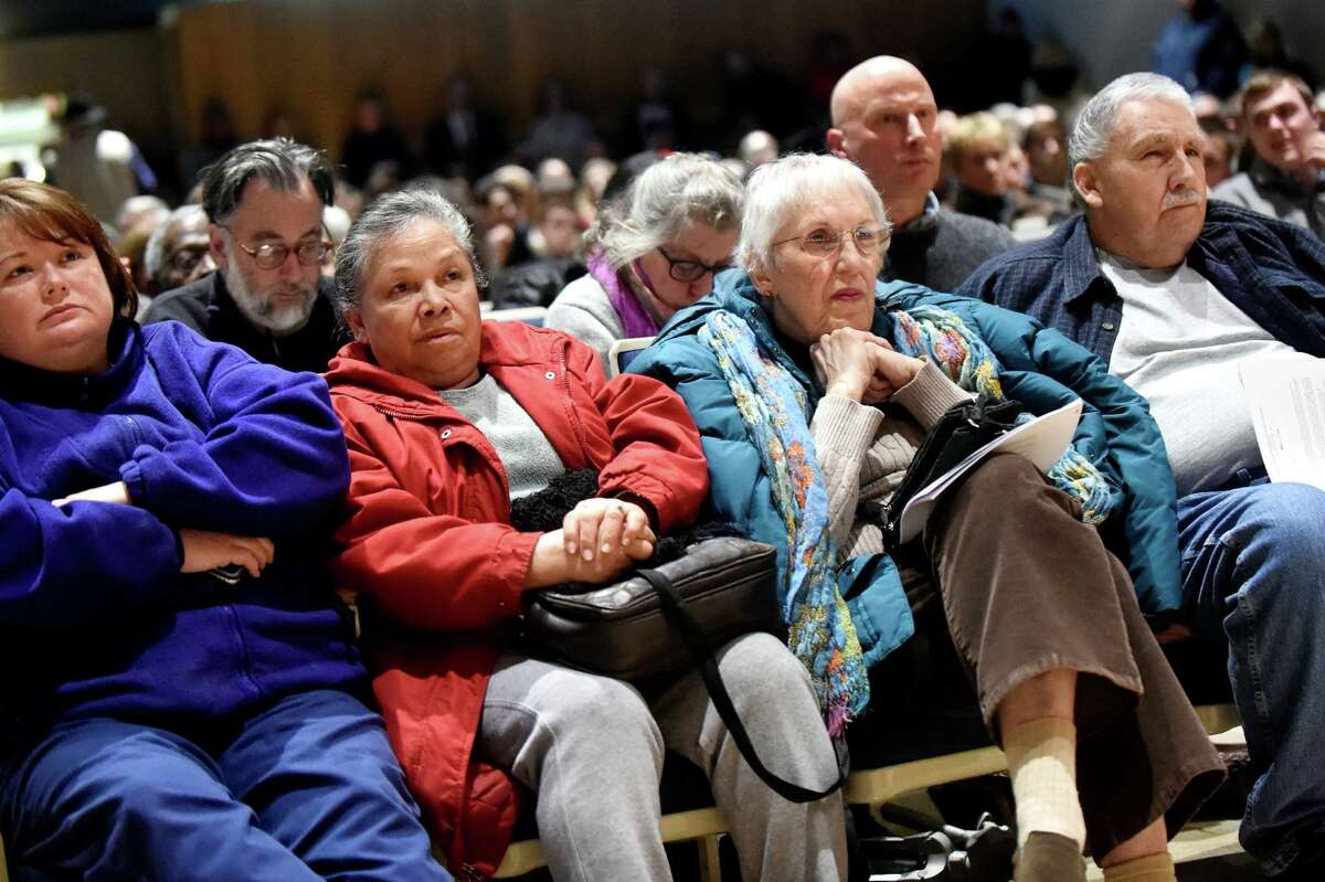 Residents attend a public meeting about PFOA contamination in the village's water system on Thursday, Jan. 14, 2016, at Hoosick Falls Central School in Hoosick Falls, N.Y. (Cindy Schultz / Times Union)