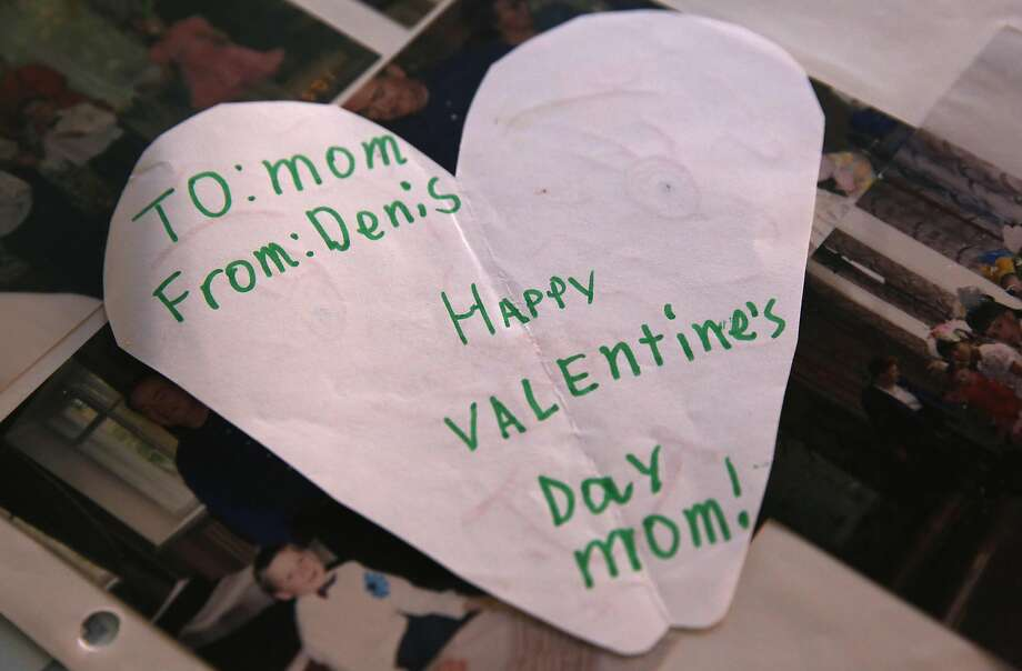 A valentine from Denis Flynn's childhood . Photo: Leah Millis, The Chronicle