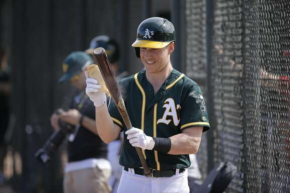Chris Coghlan, 3 gets set to bat during an intra-squad game at the Oakland Athletics spring training workouts on Monday February 29, 2016, in Mesa, Arizona.