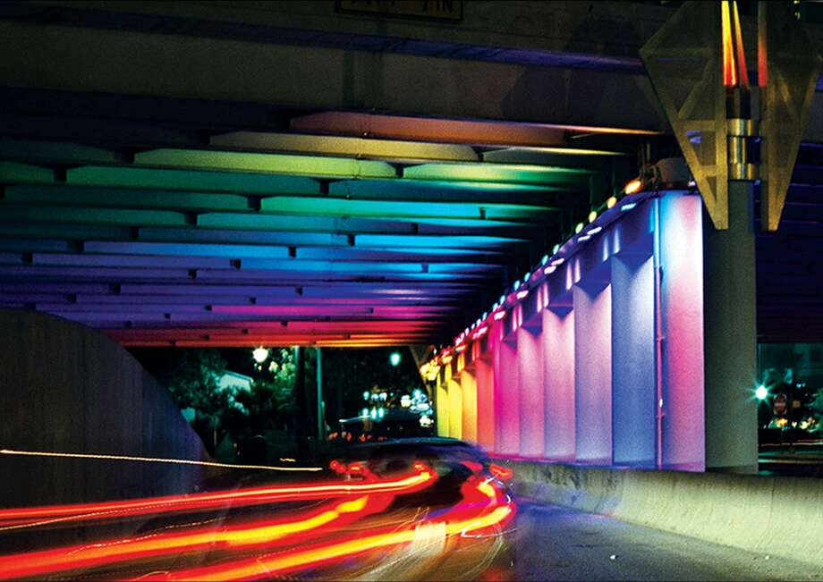 """""""Light Channels,"""" a light installation by Bill FitzGibbons, illuminates the highway underpasses at Houston and Commerce streets. Photo: Courtesy Bill FitzGibbons"""