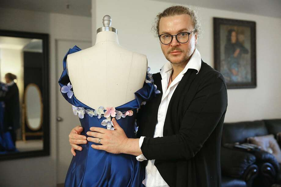 Fashion designer Vasily Vein shows a dress he is designing for a russian opera at his studio in Sausilito, California, on tuesday, march 29, 2016. Photo: Liz Hafalia, The Chronicle