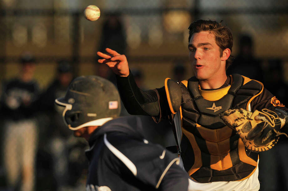 Brunswick catcher Wil Salomon will continue his baseball career at Georgetown. Photo: Jason Rearick / Hearst Connecticut Media / Stamford Advocate