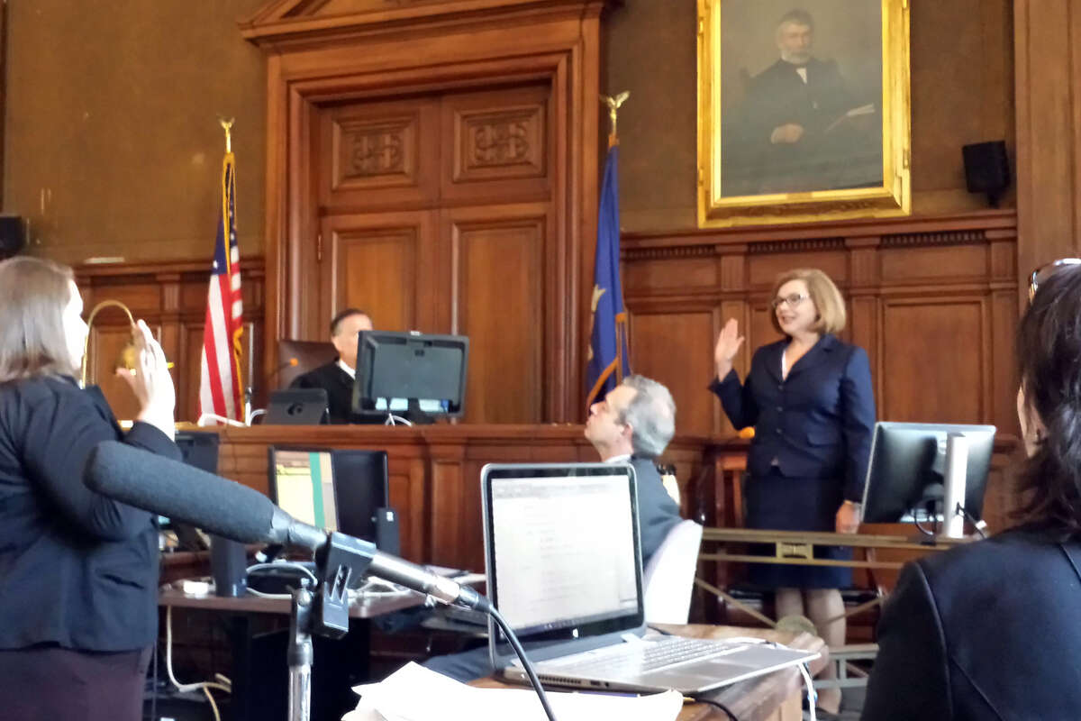 Education Commissioner Dianna Wentzell testifies at the Connecticut Coalition for Justice in Education Funding trial in Hartford, Conn. March 30, 2016.