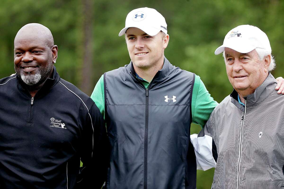 PGA golfer Jordan Spieth , poses with Emmitt Smith (left) and Roger Penske, (right) at the Shell Houston Open Grand Pro-AM at the Golf Club of Houston on Wednesday, March 30, 2016 in Humble, TX.